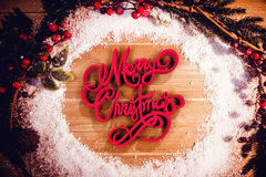 Composite image of three dimensional of merry christmas text in red and white color. Three dimensional of Merry Christmas text in red and white color against Stock Photos