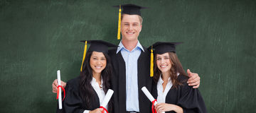 Composite image of three friends graduate from college together Stock Images