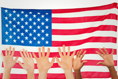 Composite image of three pairs of hands waving Royalty Free Stock Photography