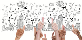 Composite image of thumbsup. Thumbsup against cityscape with brainstorm Stock Photo