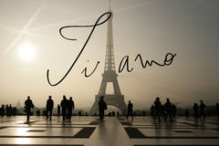 Composite image of ti amo. Ti amo against eiffel tower vector illustration