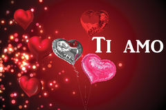 Composite image of ti amo. Ti amo against valentines heart design royalty free illustration