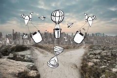Composite image of time and hot air balloons doodle Stock Photography