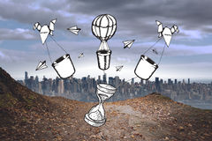 Composite image of time and hot air balloons doodle Royalty Free Stock Photo