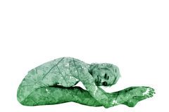 Composite image of toned woman doing the paschimottanasana pose. Toned woman doing the paschimottanasana pose against branches and leaves Stock Photo