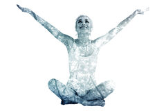 Composite image of toned young woman sitting with arms outstretched Stock Images