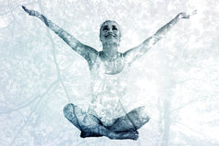 Composite image of toned young woman sitting with arms outstretched Stock Photography