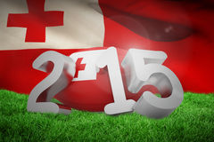 Composite image of tonga rugby 2015 message. Tonga rugby 2015 message  against close-up of waving tonga flag Royalty Free Stock Image