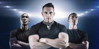 Composite image of tough rugby player looking at camera Royalty Free Stock Photos