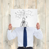 Composite image of tradesman holding blank sign in front of his head Royalty Free Stock Images