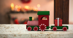 Composite image of train set with gift box Stock Photo