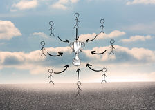 Composite image of trophy doodle with stick figures. Trophy doodle with stick figures against desert landscape with blue sky Royalty Free Stock Photos