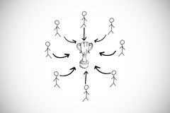 Composite image of trophy doodle with stick figures Royalty Free Stock Photos