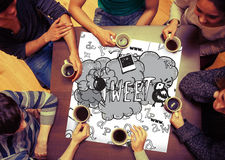 Composite image of tweet doodles on page Royalty Free Stock Photo