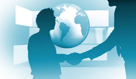 Composite image of two businessmen shaking hands in office. Two businessmen shaking hands in office against planet on grey abstract background Royalty Free Stock Photos