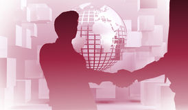 Composite image of two businessmen shaking hands in office. Two businessmen shaking hands in office against planet on grey background with cubes Stock Images