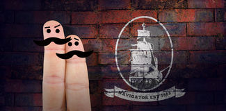Composite image of two fingers with mustache Royalty Free Stock Image