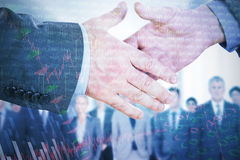 Composite image of two people going to shake their hands Royalty Free Stock Images