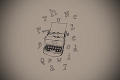Composite image of typewriter and letters doodle Royalty Free Stock Photo