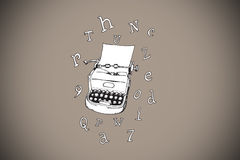 Composite image of typewriter and letters doodle Stock Image