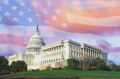 Composite image of the U.S. Capitol and American flag Royalty Free Stock Photography
