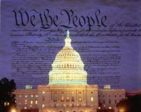 Composite image of the U.S. Capitol and the U.S. Constitution Stock Photo