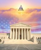 Composite image of the U.S. Supreme Court, American flag, eye of God and colorful sunrise sky Royalty Free Stock Images