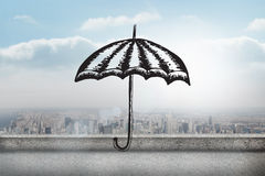 Composite image of umbrella doodle Royalty Free Stock Photography