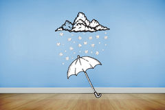 Composite image of umbrella doodle Stock Photography