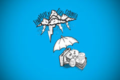 Composite image of umbrella protecting money from debt storm Stock Image