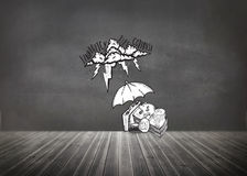 Composite image of umbrella protecting money from debt storm Stock Photography