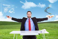 Composite image of unsmiling businessman sitting with arms outstretched. Unsmiling businessman sitting with arms outstretched against blue sky over green field Royalty Free Stock Photos