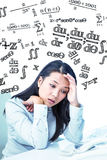 Composite image of unsmiling businesswoman with hands on face. Unsmiling businesswoman with hands on face against maths equation Stock Photography