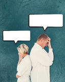 Composite image of upset couple not talking to each other after fight Stock Images
