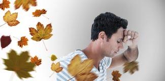 Composite image of upset man leaning on white background Royalty Free Stock Image
