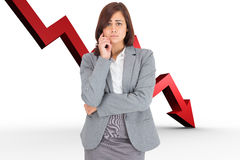 Composite image of upset thinking businesswoman Royalty Free Stock Image