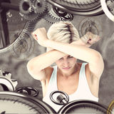 Composite image of upset woman holding her arms in front of her head Royalty Free Stock Photos