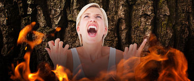 Composite image of upset woman screaming with hands up Royalty Free Stock Photo