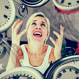Composite image of upset woman yelling with hands up Stock Images
