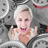 Composite image of upset woman yelling with hands up Royalty Free Stock Photography