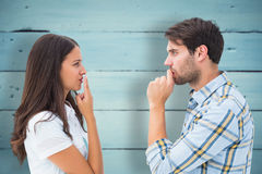 Composite image of upset young couple not talking Royalty Free Stock Image