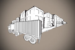 Composite image of urban street with lorry doodle Stock Photography