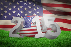 Composite image of usa rugby 2015 message. USA rugby 2015 message against close-up of american flag royalty free illustration