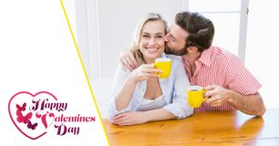 Composite image of val card with couple holding mugs Royalty Free Stock Photos