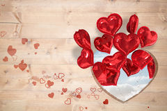 Composite image of valentines heart design. Valentines heart design against cloudy sky Royalty Free Stock Images