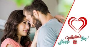 Composite image of valentines text and couple embracing each other Royalty Free Stock Image