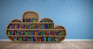 Composite image of various colourful books arranged on wooden shelves. Various colourful books arranged on wooden shelves against room with wooden floor Royalty Free Stock Images
