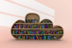 Composite image of various colourful books arranged on wooden shelves. Various colourful books arranged on wooden shelves against white shapes on orange Royalty Free Stock Images