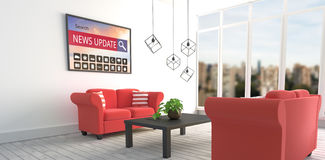 Composite image of various computer icons with search bar on device screen. Various computer icons with search bar on device screen against red sofas in modern Royalty Free Stock Photography