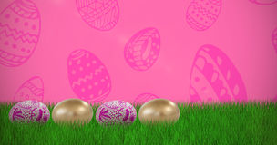 Composite image of various easter eggs arranged side by side Stock Photography